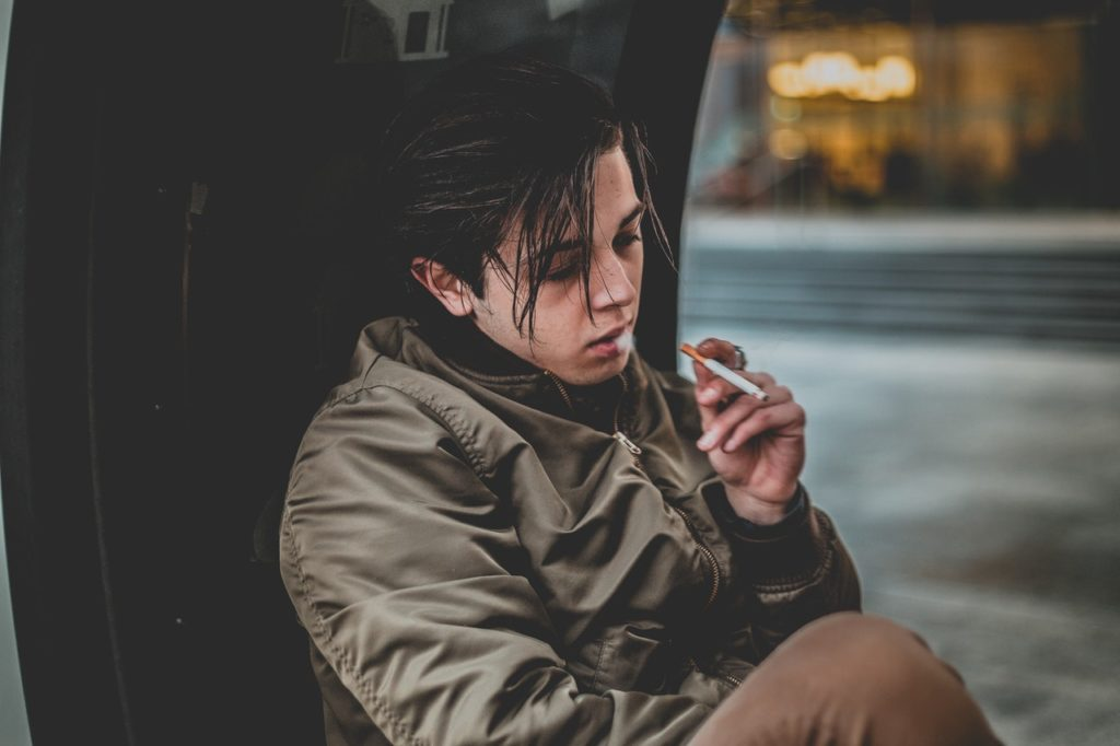 a boy smoking